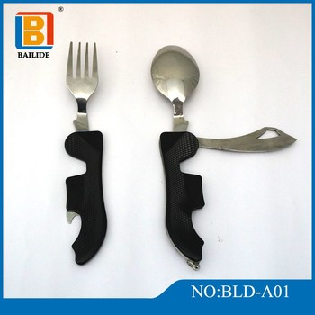 Detachable Camping Eating Utensil - Half Fork/Bottle Opener, Half Spoon/Knife, SST with Aluminum Handles