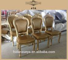 Danxueya wooden gold color leather dining chair