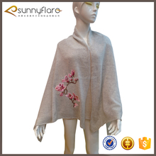 Embroidery design women grey cashmere knitting hand embroidery scarf shawl