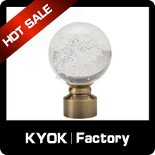 KYOK 2016 New design antique brass Delicate attractive glass curtain rod finial