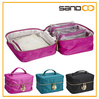 Outdoor travel accessory bags, fashion lady makeup train case with three cosmetic bags