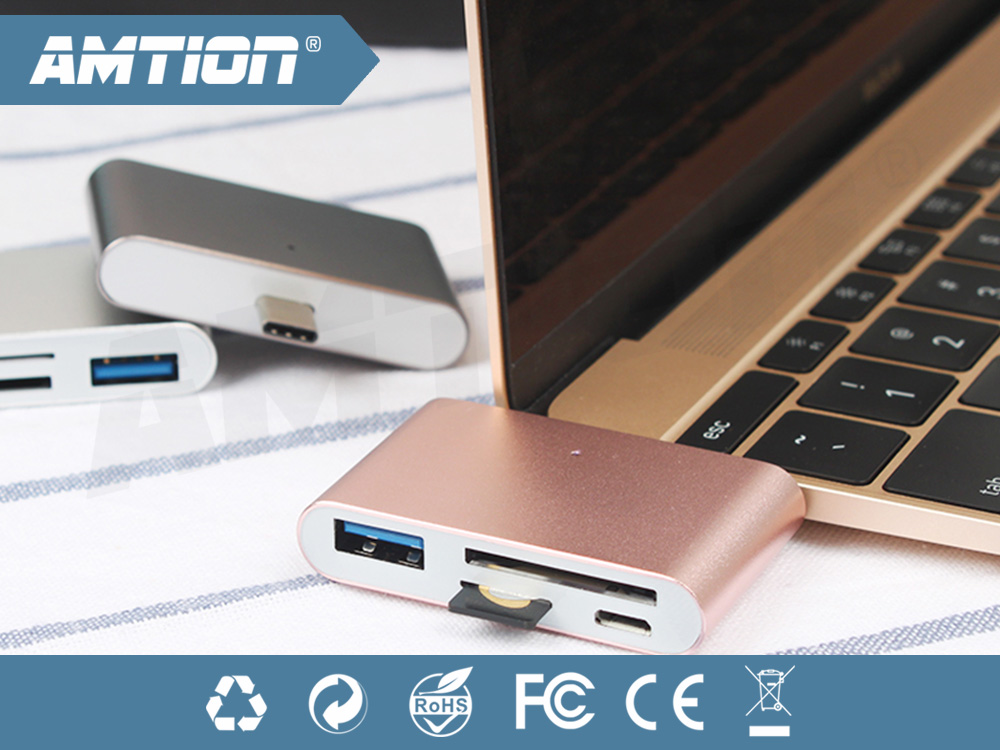 Aluminium Material Multifunction type c adapter with micro and usb 2.0 and SD Card and TF Card