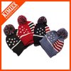 Thick knit US flag star stripe winter beanie pom cap ski hat