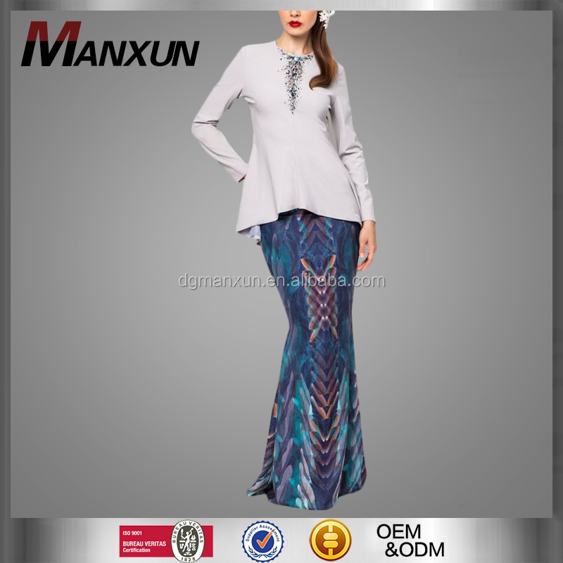 Modern Fashion Malaysia Baju Kurung Printed Muslilm Fishtail Skirt Sexy Islamic Women Wear