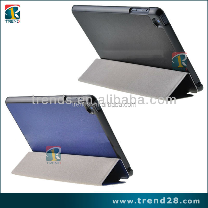 folding pu leather case for ipad mini, for ipad mini pu leather case