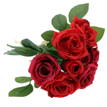 9PCS Artificial Blooming Rose Silk Flowers Bouquet Simulation Flowers with Single Stem for Home Wedding Decoration