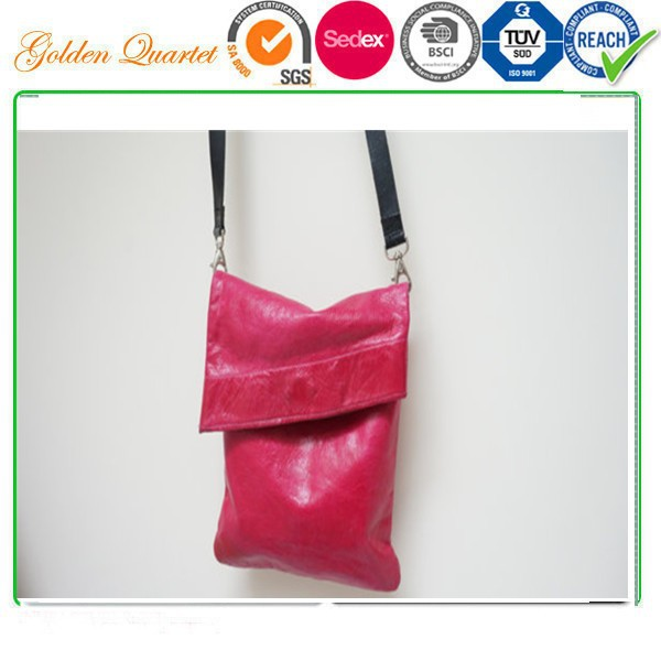 Handbag hot pink clutch pouch tote Vintage real leather Retro purse woman lady made in handmade England UK Europe messe