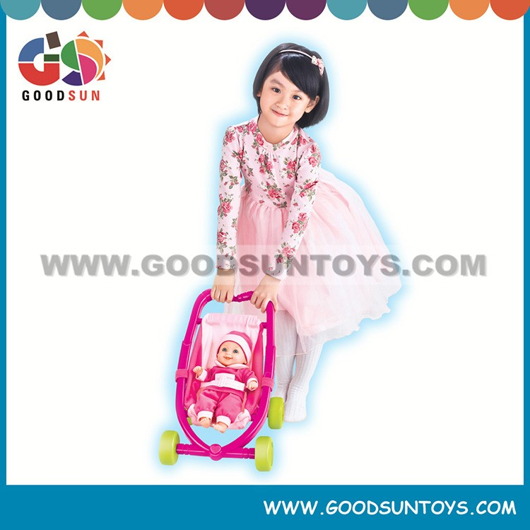 High Quality 12 inch doll cotton doll with stroller doll set soft body dolls
