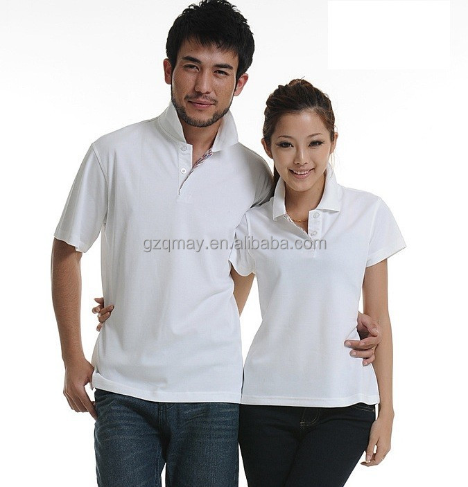 2015 Ladies Fashion white polo shirt made in vietnam customized red white and blue