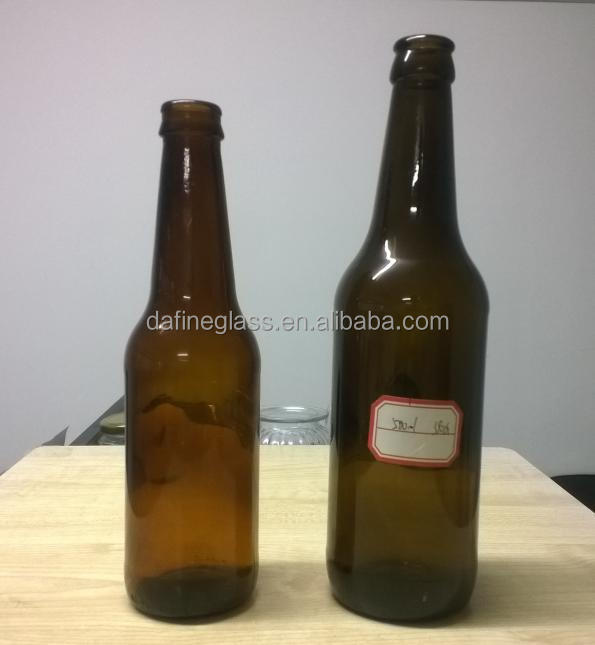 330ml and 500ml amber/brown glass beer bottles with crown top