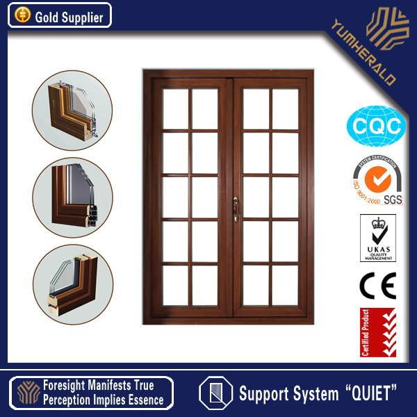 New Design Energy Saving Low-E Tempered Glazed Wood Door Pictures
