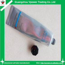 aluminum plastic cosmetic packaging tube for hand cream with Black octagon screw lid