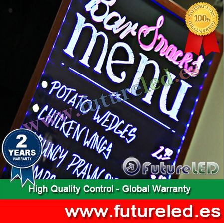 NEW Alibaba 2014! led writing board with simil-wooden frame and stand