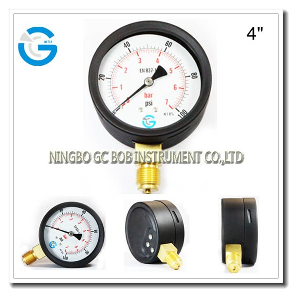 Economy 4 inch bayonet ring wika pressure gauge style with bottom connection