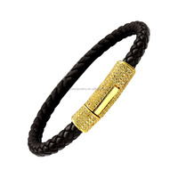 Bling Bling Hip Hop Gold Plated Mens Leather Bracelet Jewelry