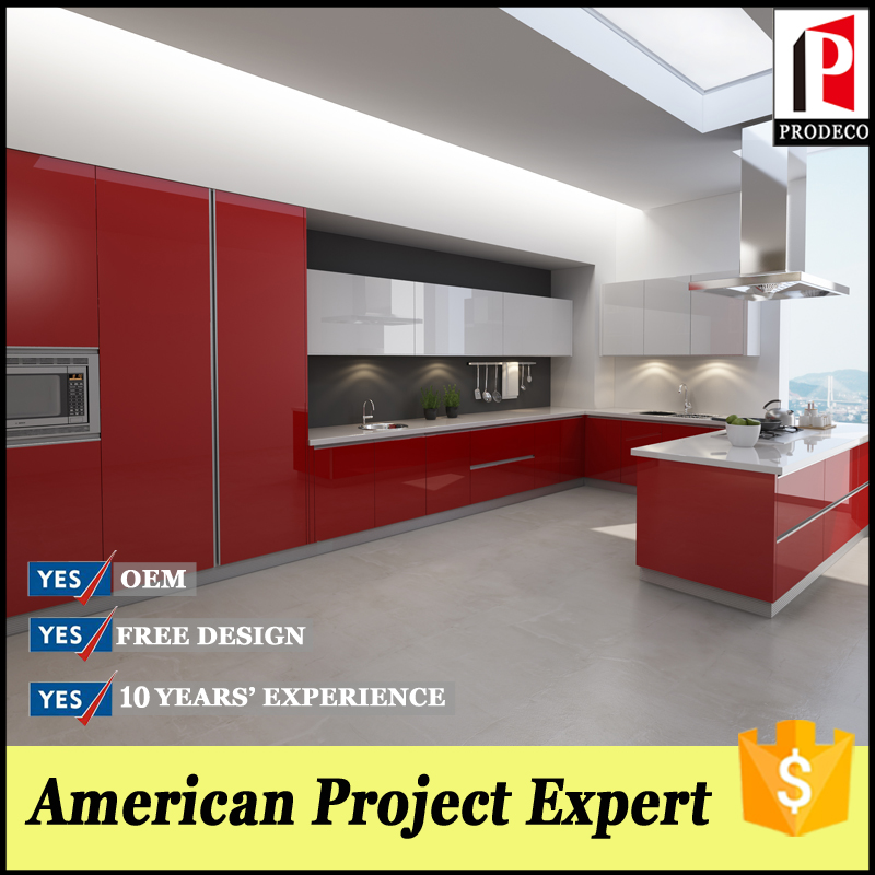 Red High Gloss Kitchen: Red Colored High Gloss Cabinets With Kitchen Accessories