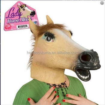 lady horse mask ,latex horse mask