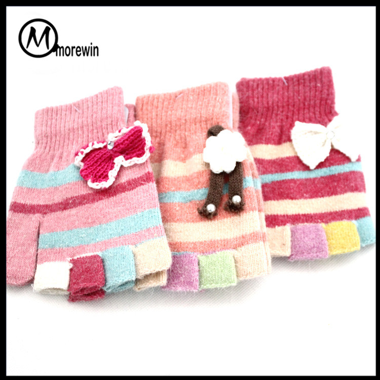 Morewin Colorful Winter Warm And Soft Knit Fingerless Baby Mittens with Bow