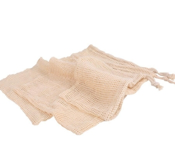 Natural Cotton Reusable Mesh produce bags