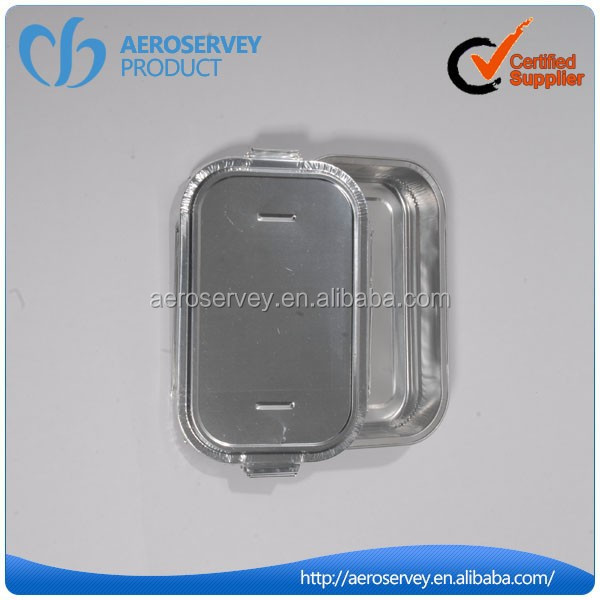 Inflight product silver aluminum food container with lids