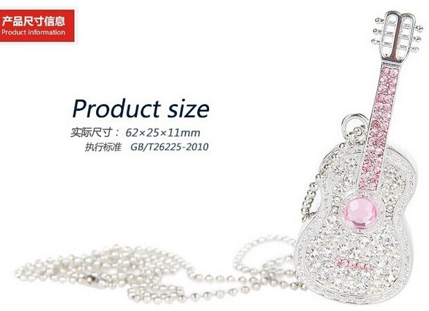 elegant jewelry diamond violin shaped usb flash drive for female birthday gift