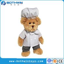 CE certification custom standing hotel teddy bear with chef hat