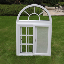 Chinese Supplier Fixed Arch Top Double Glazing PVC Sliding Window