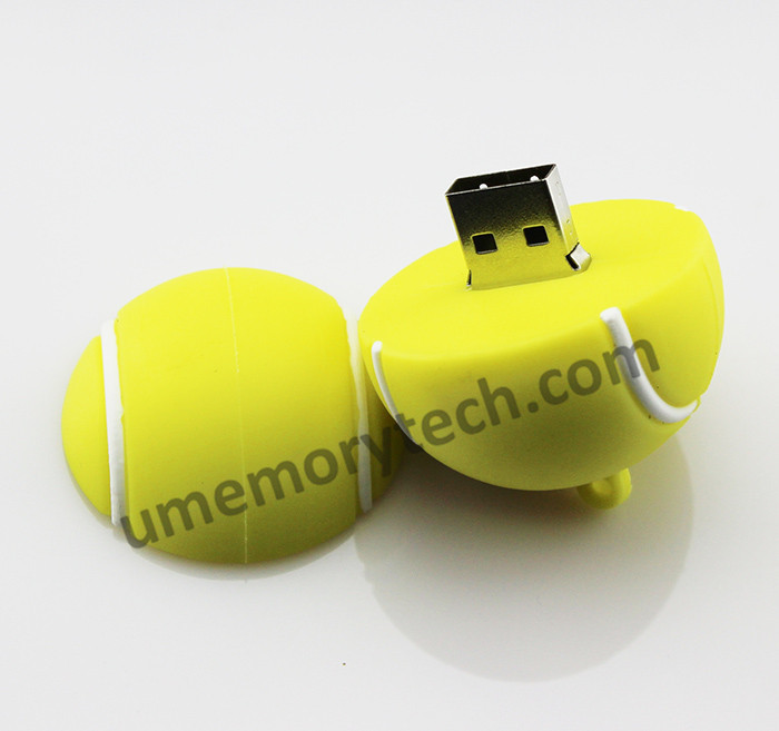 2015 Bulk cheap tennis ball 2gb usb flash drive 100% Capacity silicone Pen drive usb 2.0 drive