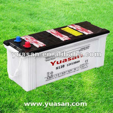 12V120AH Lead Acid Dry Charged Car Start Battery For lorry or truck tractor N120L 24 month design life span