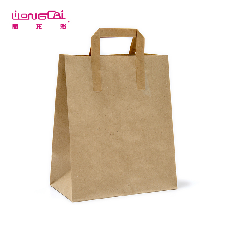 Wholesale custom made retail cheap shopping brown kraft paper bag