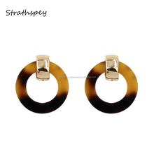 Fashion Korean Women Pictures Of Gold Geometric Circle Round Designs Ring Tape Acrylic Drop Earrings