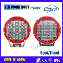 Red Round 9inch 160W Cr ee Led Driving Spot Work Light 4WD Offroad Suv Ute