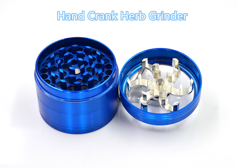 Hand Crank Grinder Machine for Smoking with Sharp CNC Teeth Multi-layers Metal Hand Crank Herb Grinders Free Shipping