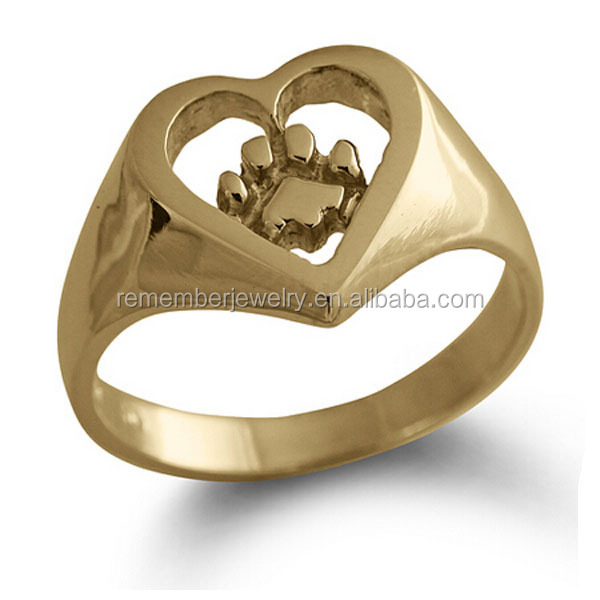SRR0012 Cheap Bulk Jewelry Gold PVD Coating Stainless Steel Jewelry Dog Paw Print Heart Ring