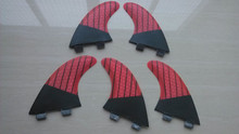 Surf FCS Fins Carbon Honeycomb Base Tri Set Five Fins Red Black Pinstripe