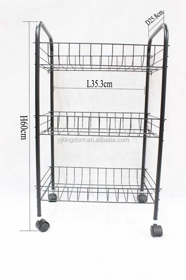 549-24 3-tier power coating wire vegetable and fruit storage cart