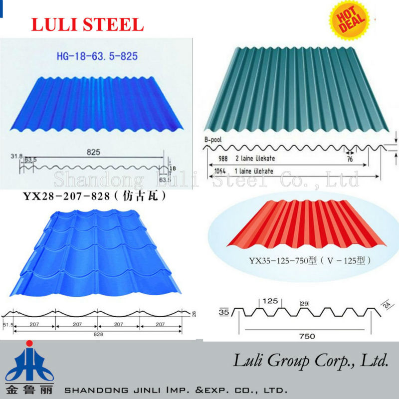 pre-painted/galvanized Corrugated Sheet Metal Roofing