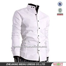 Latest style 100%Cotton White Business casual Banded collar Slim fit shirt for men S,M,L,XL,XXL