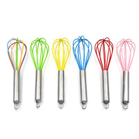 Wholesale cheap Silicone Wire Whisk Handheld Egg Mixer Blender Beating Kitchen Utensils Rubber steel handle