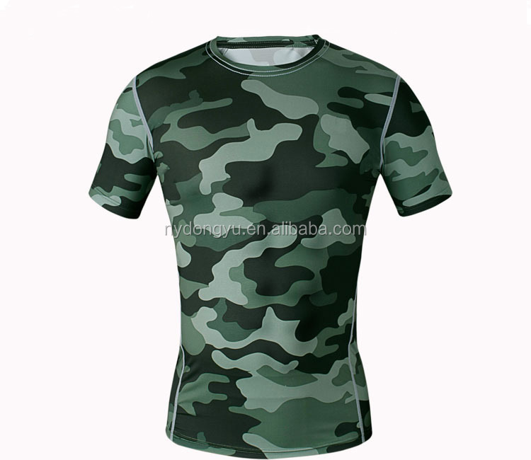 Gray camo fast dry tight fit t shirts/super sport camoflage short leeve t shirts /hot sell t shirts