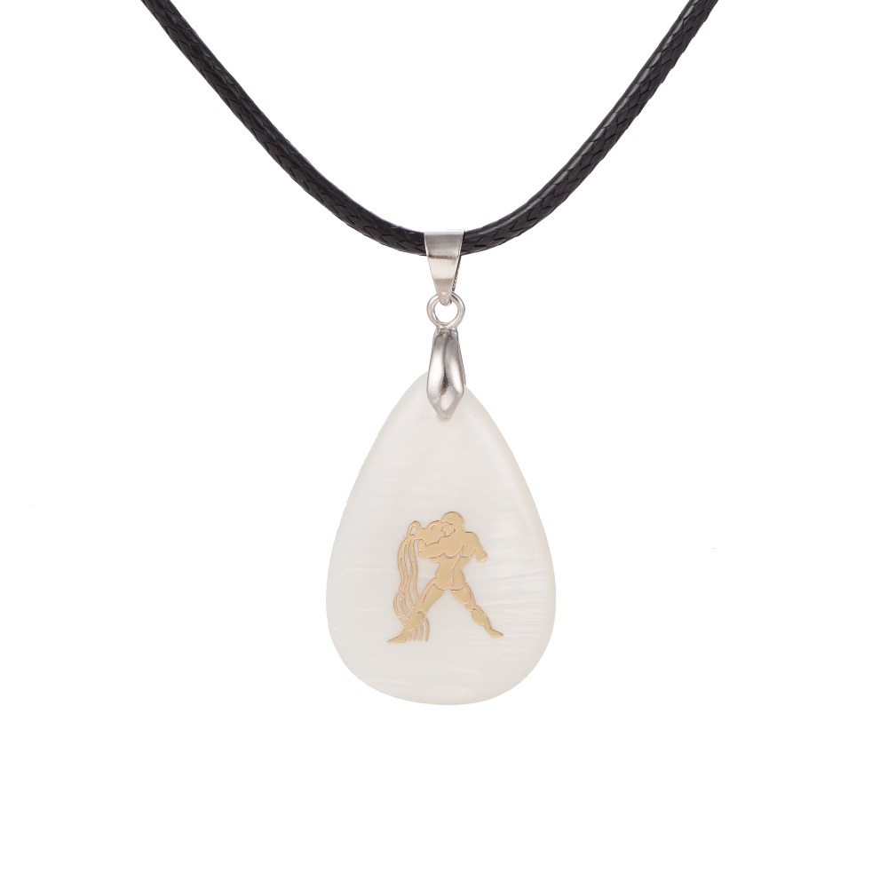 Aquarius symbol gold plated simple design shell pendant leather necklace