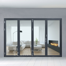 ROGENILAN 75 series Modern Durable Tempered Glass Bifold Door With Stainless Steel Hinge Hardware