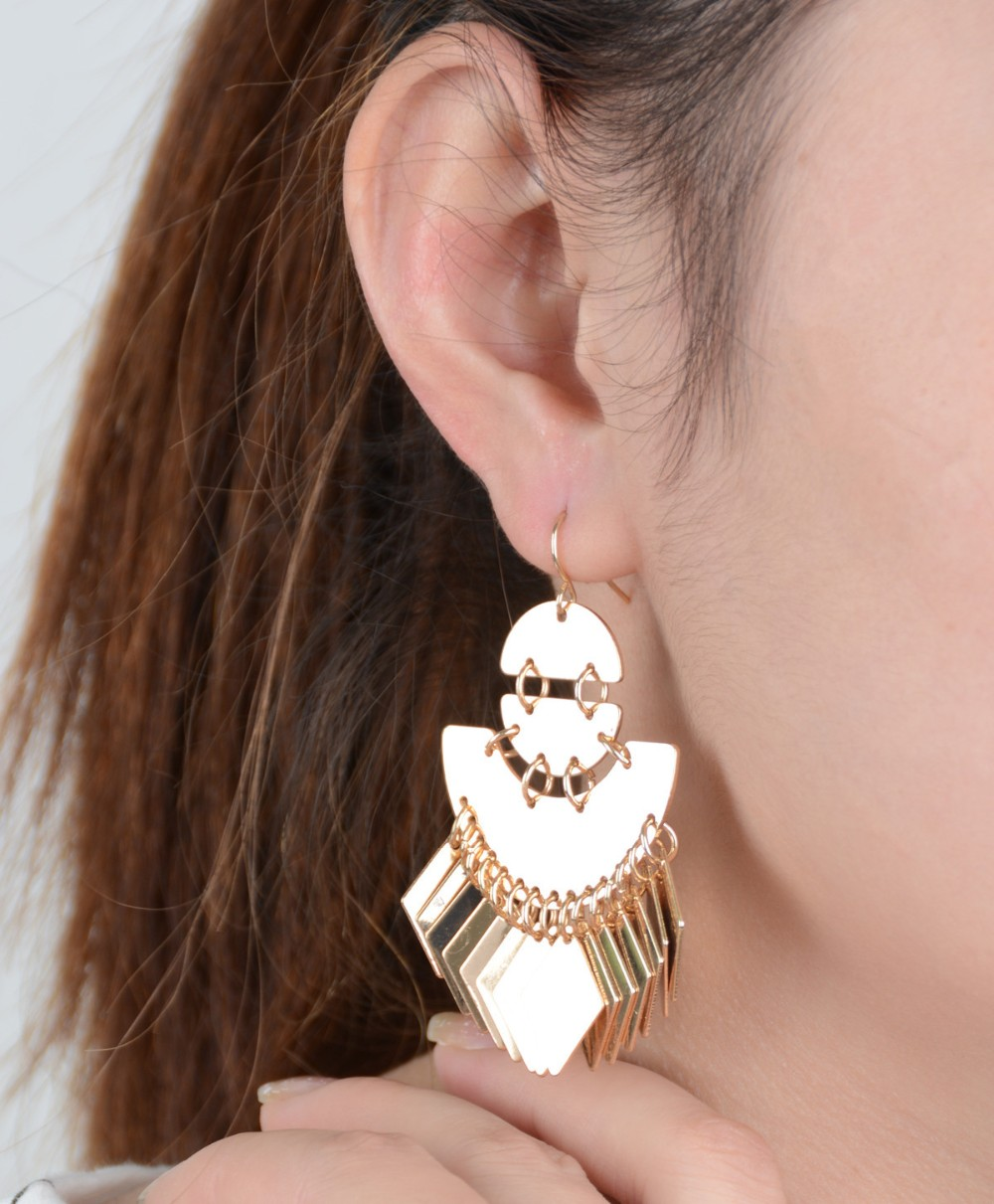 Vintage National Style Light optical surface sequins Tassel Earrings Stud