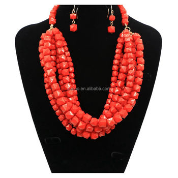 2018 Unique red beaded statement necklace african beads jewelry set
