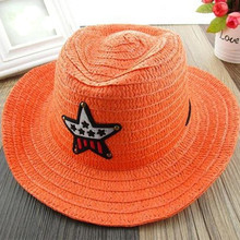 Summer sun protection lovely cute straw cowboy hat for baby