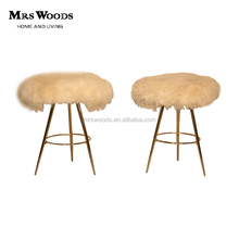 Italian mid-century Brass & Sheep Wool Stools