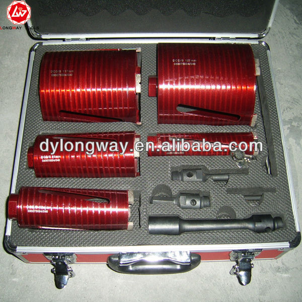 9pcs core bits set170mm length diamond core drill bit,diamond core drill bits for hard rock,steel core drill bit.