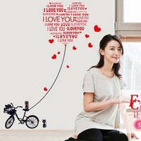50pcs Bicycle bedroom wall stickers wholesale love marriage room wall stickers love fashion decoration English