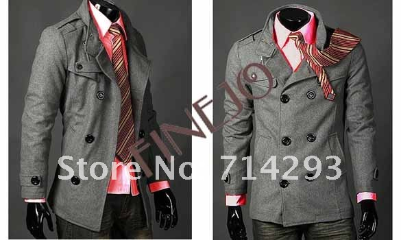 2012 Hot Men's Jackets Double Breasted Coat LiLing Badges Dust Coat FJ-3300