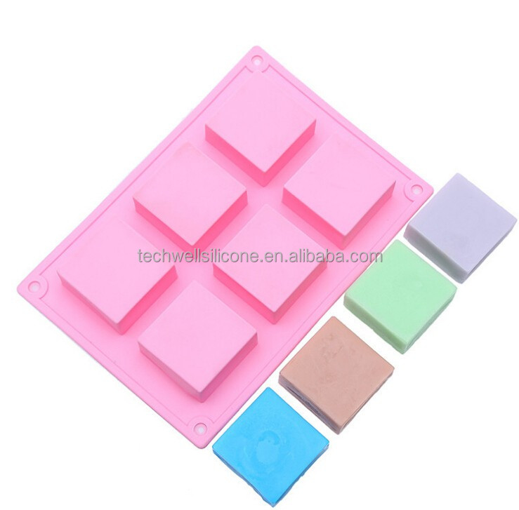 CM-034 handmade craft molding six square cavities silicone soap <strong>mold</strong>